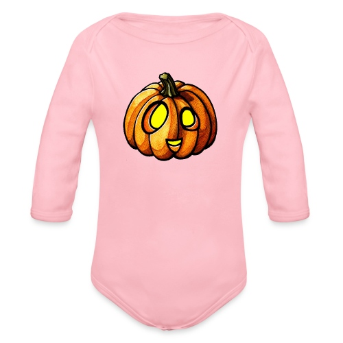 Pumpkin Halloween watercolor scribblesirii - Baby Bio-Langarm-Body