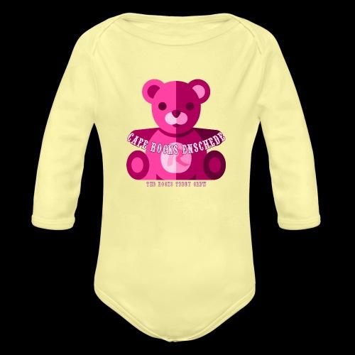 Rocks Teddy Bear - Pink - Baby bio-rompertje met lange mouwen