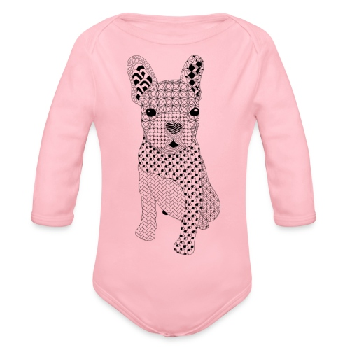 Bulldog puppy patroon - Baby bio-rompertje met lange mouwen