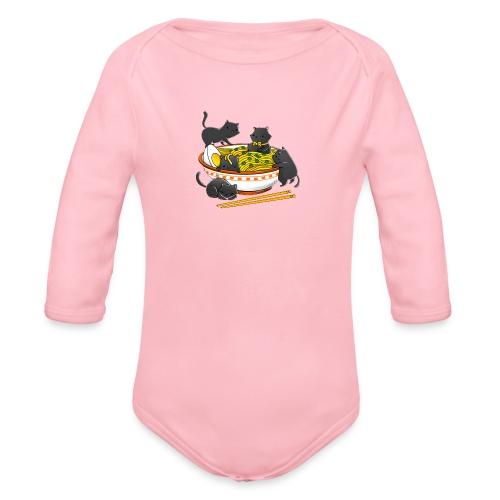 Kawaii Vintage Style Japenese Ramen Cat - Organic Longsleeve Baby Bodysuit