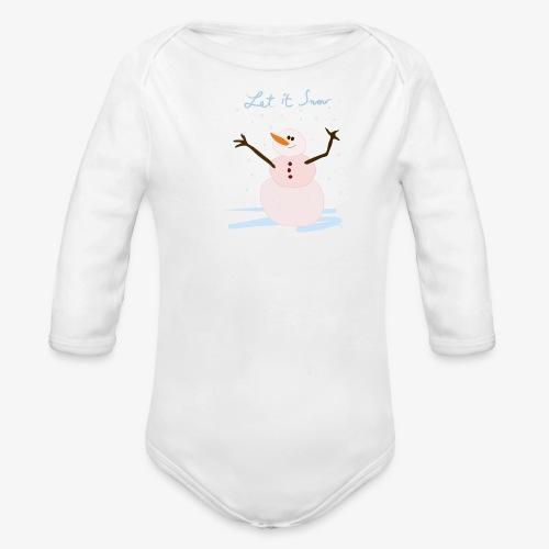snowman let it snow - Organic Longsleeve Baby Bodysuit