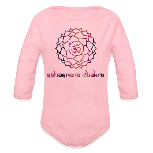 Sahasrara Kronenchakra Bunt Yoga Chakra Motiv - Baby Bio-Langarm-Body
