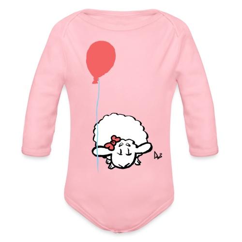 Babylam med ballon (lyserød) - Langærmet babybody, økologisk bomuld