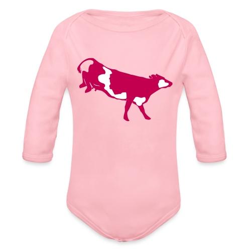 Landende koe vector - Baby bio-rompertje met lange mouwen