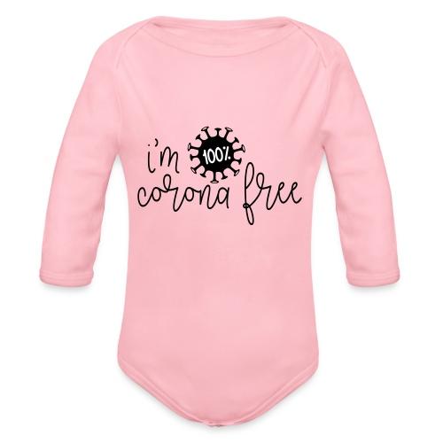 Ik ben coronavirus vrij. Stop de coronavirus - Baby bio-rompertje met lange mouwen