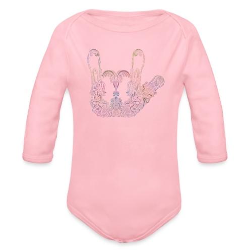 ILY Handzeichen Mandala - Baby Bio-Langarm-Body