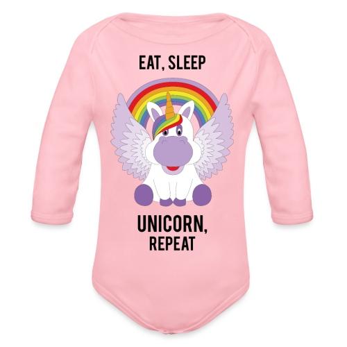Eat, sleep, unicorn, repeat - Baby bio-rompertje met lange mouwen