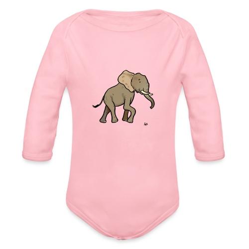 Éléphant d'Afrique - Body Bébé bio manches longues