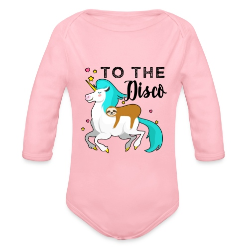 Funny Sloth Riding Unicorn - Baby Bio-Langarm-Body