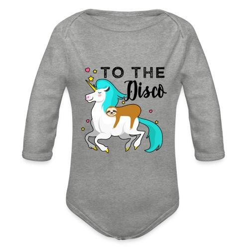Funny Sloth Riding Unicorn - Baby Bio-Langarm-Body