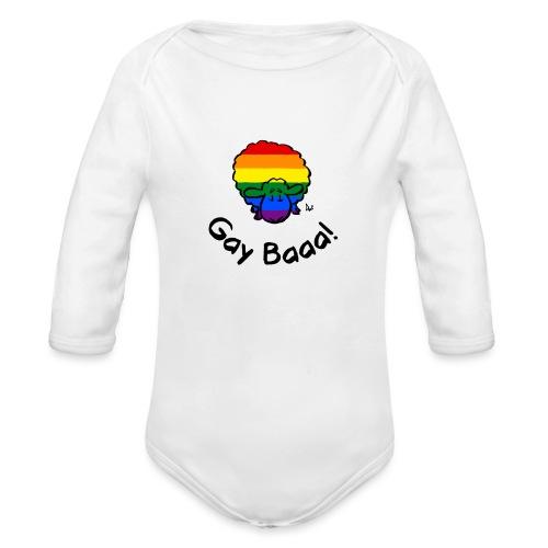 Gay Baaa! Rainbow Pride Sheep - Organic Longsleeve Baby Bodysuit
