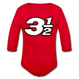 Three and a Half Logo - Organic Longsleeve Baby Bodysuit