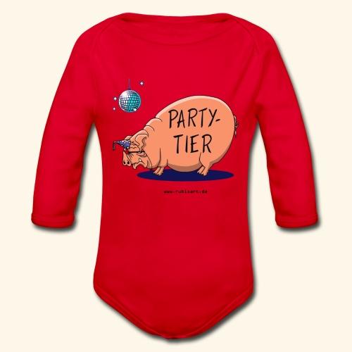Partytier Schwein Fete Feier Party Sau - Baby Bio-Langarm-Body
