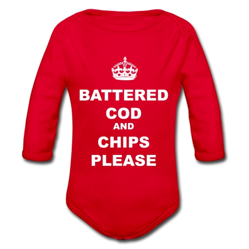 BATTERED COD AND CHIPS PLEASE - Organic Longsleeve Baby Bodysuit