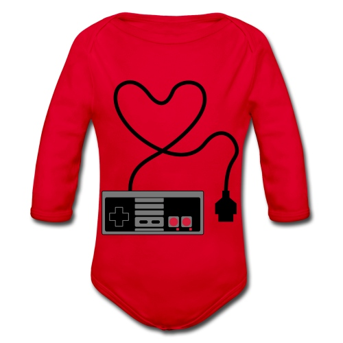 NES Controller Heart - Organic Longsleeve Baby Bodysuit