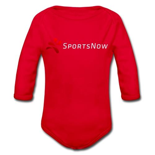 SportsNow-Logo mit weisser Schrift - Baby Bio-Langarm-Body