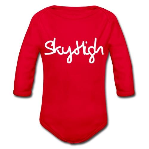 SkyHigh - Snapback - (Printed) White Letters - Organic Longsleeve Baby Bodysuit