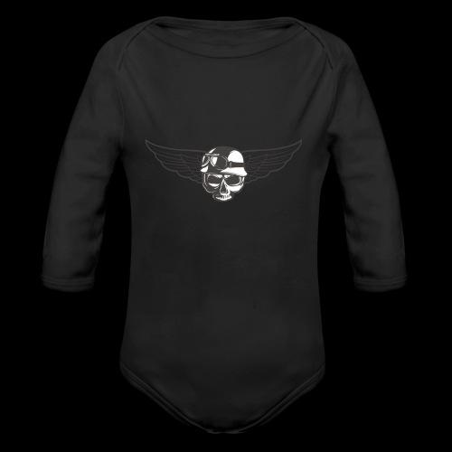 Biker skull - Organic Longsleeve Baby Bodysuit