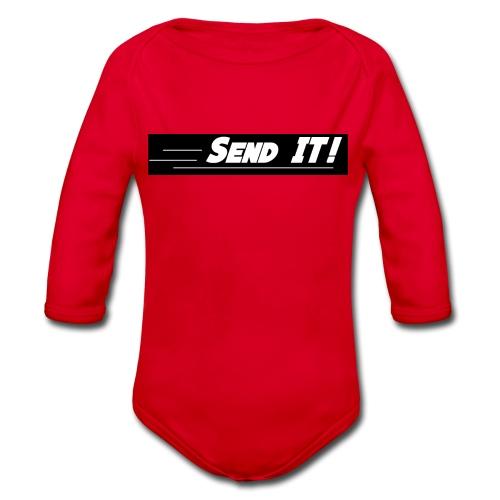 send it logo black and white - Organic Longsleeve Baby Bodysuit