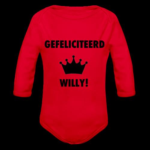 Gefelicteerd Willy - Baby bio-rompertje met lange mouwen