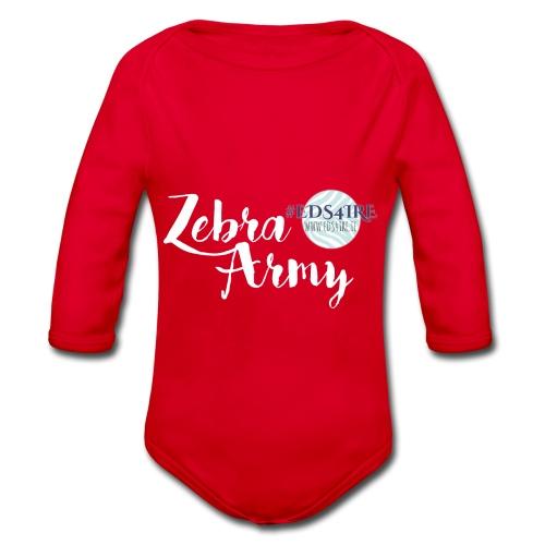 Zebra Army (white) - Organic Longsleeve Baby Bodysuit