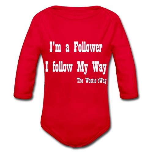 I follow My Way White - Ekologiczne body niemowlęce z długim rękawem