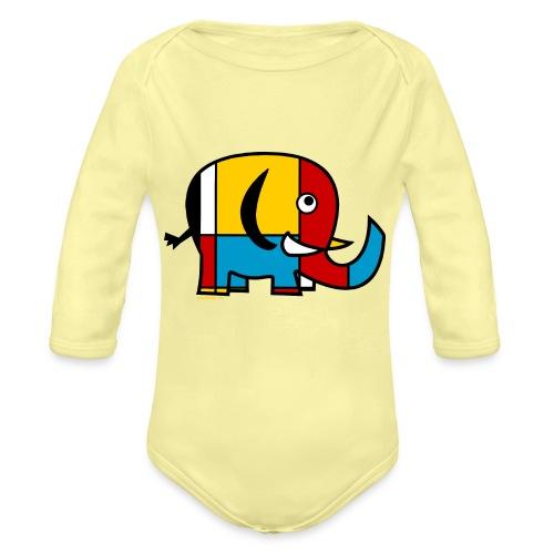 Mondrian Elephant - Organic Longsleeve Baby Bodysuit