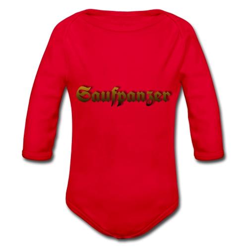 Saufpanzer_Schriftzug_Gold - Baby Bio-Langarm-Body