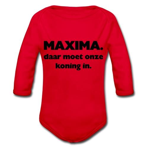 Maxima daar onze Koning in - Baby bio-rompertje met lange mouwen
