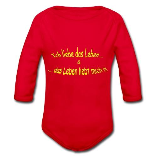 Ich-liebe-das-Leben-gelb - Baby Bio-Langarm-Body