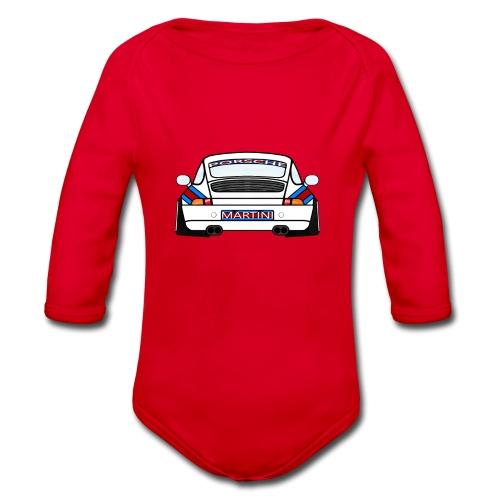 White Sports Car Maritini Livery - Organic Longsleeve Baby Bodysuit