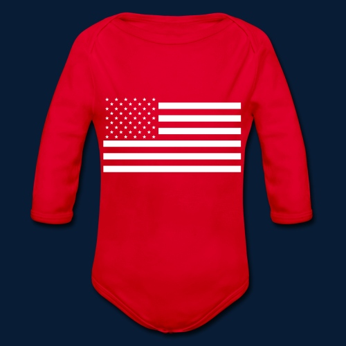 Stars and Stripes White - Baby Bio-Langarm-Body