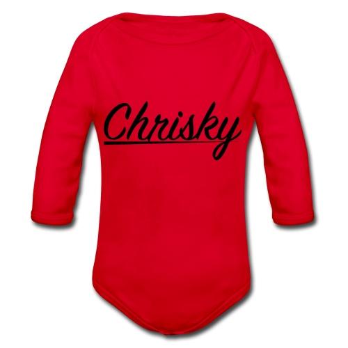 Chrisky Logo Schwarz - Baby Bio-Langarm-Body