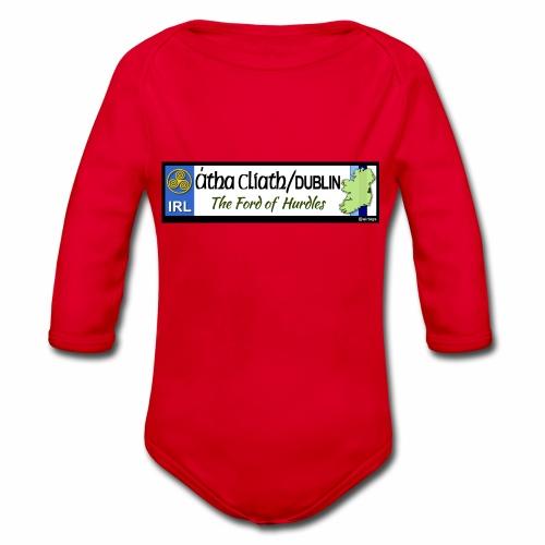 CO. DUBLIN, IRELAND: licence plate tag style decal - Organic Longsleeve Baby Bodysuit