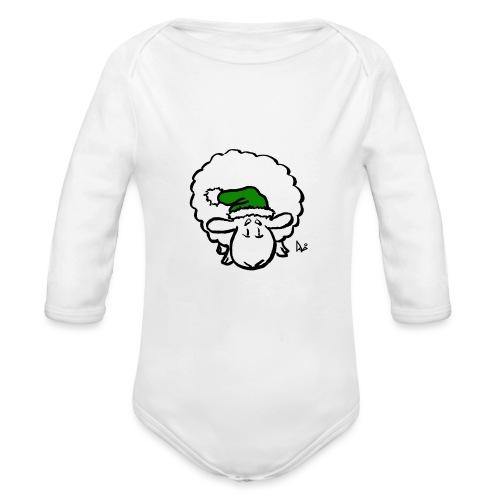 Weihnachtsschaf (grün) - Baby Bio-Langarm-Body