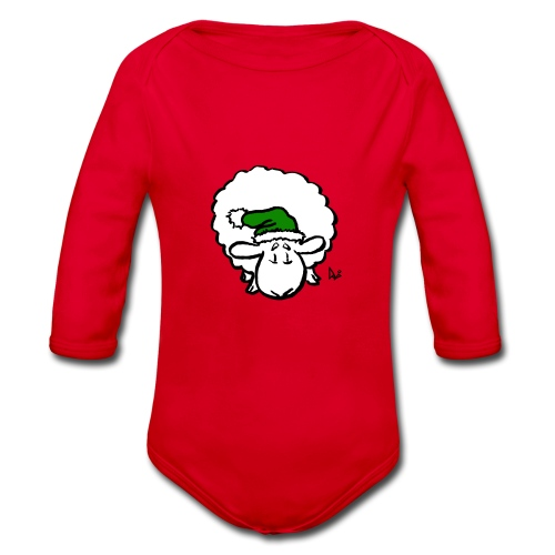 Santa Sheep (green) - Body Bébé bio manches longues