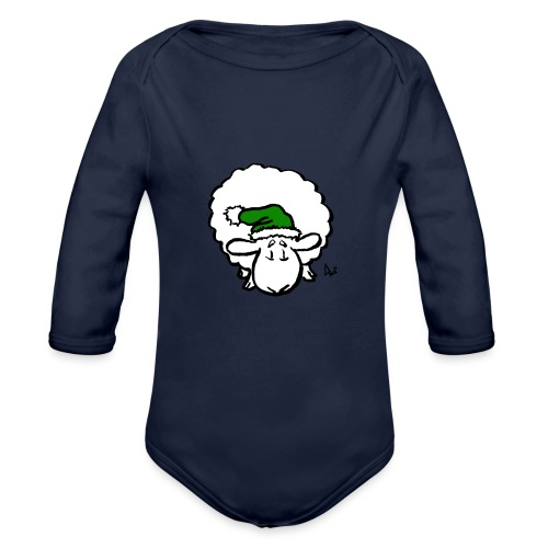 Santa Sheep (green) - Baby Bio-Langarm-Body