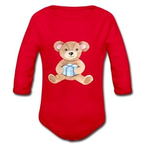 Baby Bib Teddy bear with gift - Organic Longsleeve Baby Bodysuit