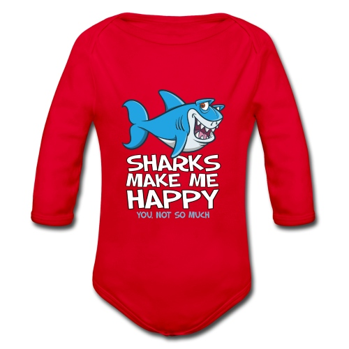 Sharks make me happy - Haifisch - Baby Bio-Langarm-Body