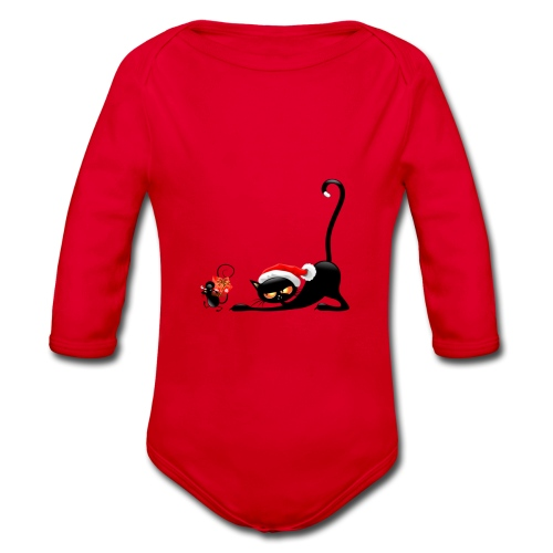 Cat chases mouse - Organic Longsleeve Baby Bodysuit