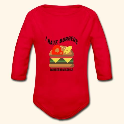 I Rate Burgers logo dark - Organic Longsleeve Baby Bodysuit