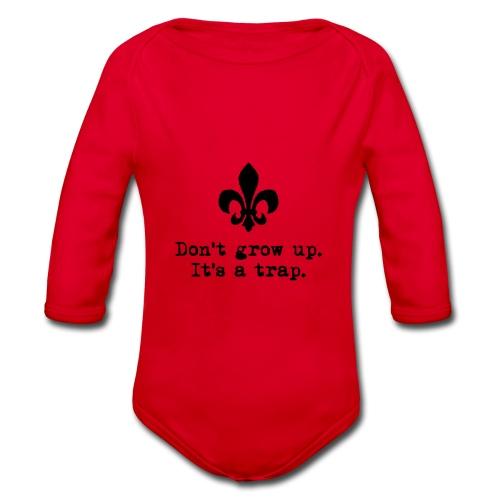 Don't grow up… mit krickeliger Lilie Typewriter - Baby Bio-Langarm-Body