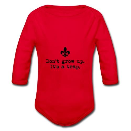 Don't grow up… kl. Lilie Typewriter - Farbe frei - Baby Bio-Langarm-Body
