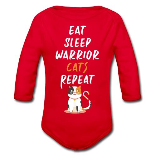 Eat sleep warrior cats repeat - Body Bébé bio manches longues