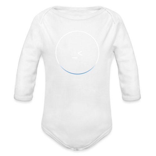 White and white-blue logo - Organic Longsleeve Baby Bodysuit