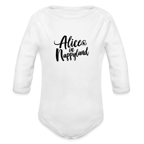 Alice in Nappyland Typography Black 1080 1 - Organic Longsleeve Baby Bodysuit