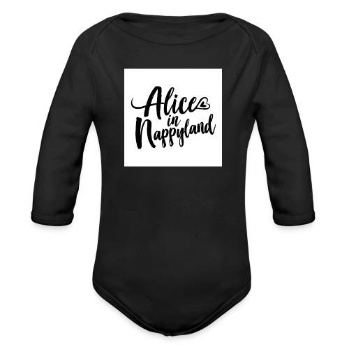 Alice in Nappyland Typography Black 1080 1 - Organic Longsleeve Baby Bodysuit