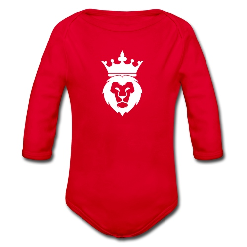 Lion_Logo_with_Crown_St--rre_bild_-white- - Ekologisk långärmad babybody