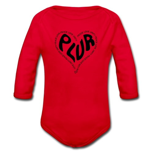 PLUR Peace Love Unity & Respect ravers mantra in a - Organic Longsleeve Baby Bodysuit