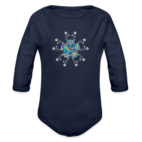 Flower Spiral - Organic Longsleeve Baby Bodysuit